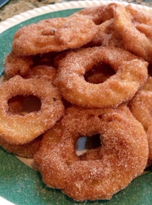 Homemade Crispy Apple Fritter Rings Using Pancake Mix As In Rachel Ray's Video