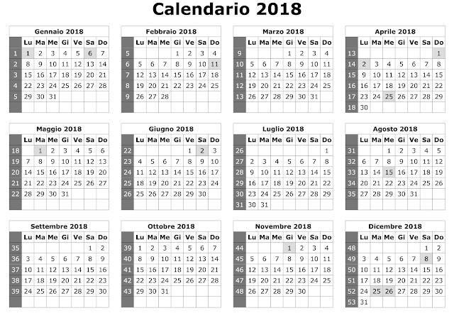 Calendario Calendario Annuale 2018
