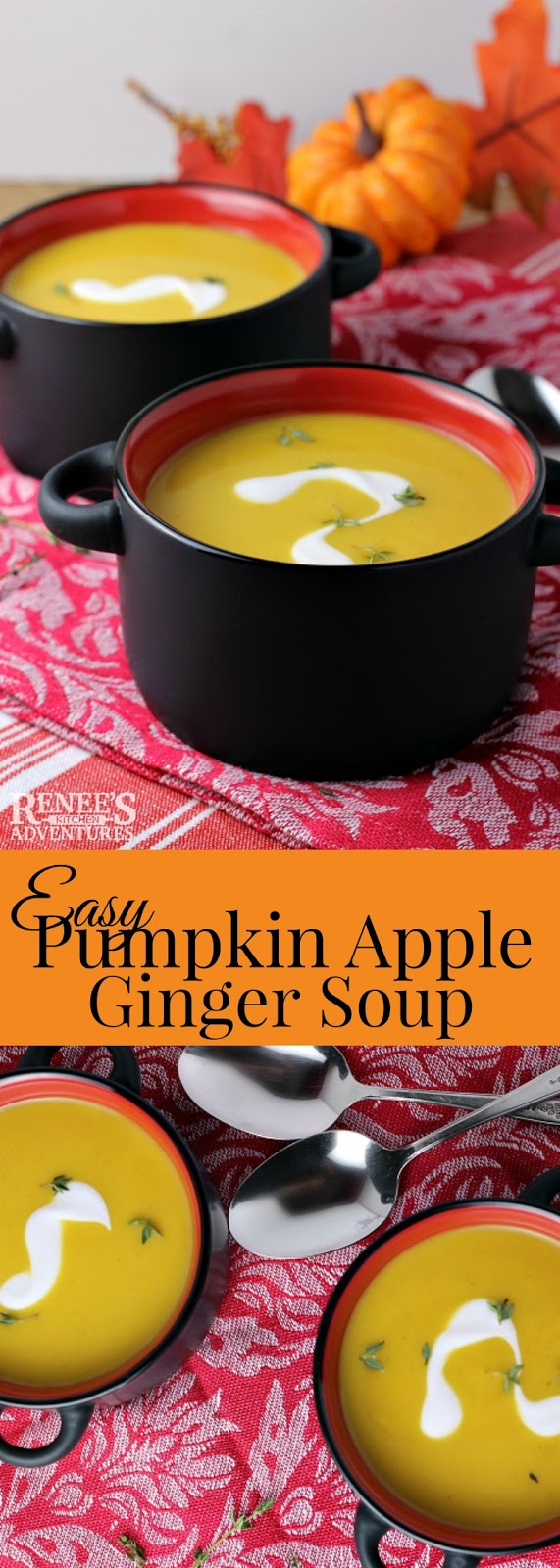 Easy Pumpkin Apple Ginger Soup | Renee's Kitchen Adventures - Easy healthy savory and sweet soup recipe perfect to serve at your holiday meal as an appetizer or for a light lunch #GiantEaglePerks #ad #soup #souprecipe #easyrecipeforsoup #easysouprecipe #pumpkinsoup #squashsoup #Thanksgiving