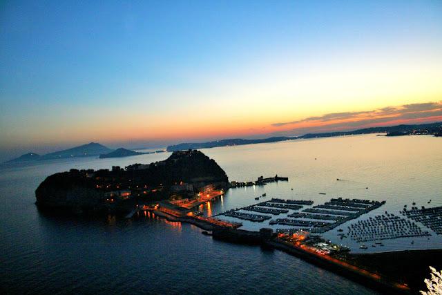 isole, mare, acqua, barche, tramonto, cielo, luci, panorama posillipo