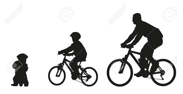Father And Kids On Bike Vector Silhouette Stock Vector