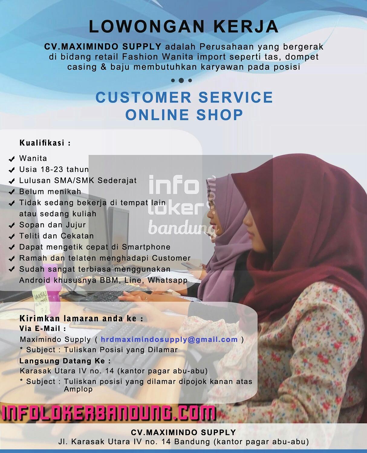 Lowongan Kerja CV. Maximindo Supply Desember 2016