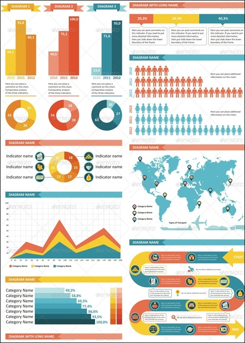 5 examples of perfect color combinations in infographics