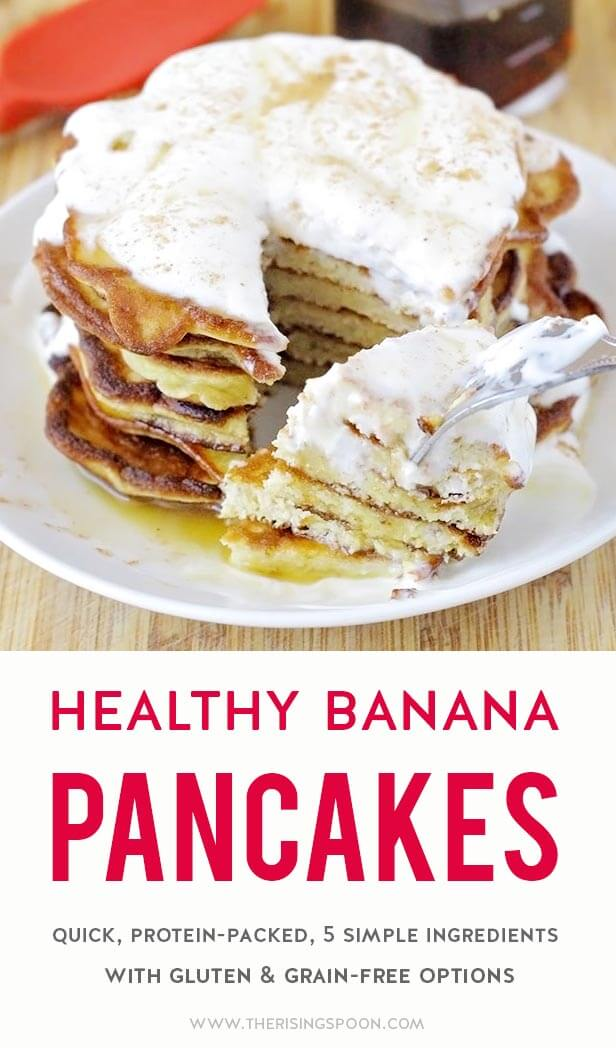 An easy breakfast recipe for healthy banana pancakes that are packed with protein & have no added sugar. These hold up better than regular 2 ingredients banana egg pancakes and have much less flour than traditional pancakes. Make a batch today with simple pantry ingredients you likely have on hand right now. {gluten-free & paleo options} #breakfast #pancakes #healthyrecipes #banana #realfood