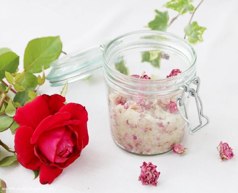 naturalny peeling z płatków róży, peeling do ciała handmade DIY