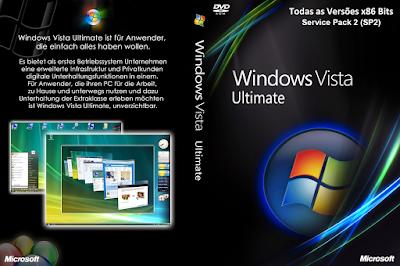Windows Vista x86 (32-Bits) SP2 PT-BR Todas as Versões DVD Capa