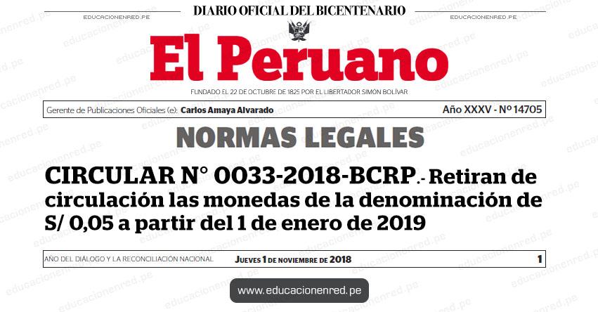 CIRCULAR N° 0033-2018-BCRP - Retiran de circulación las monedas de la denominación de S/ 0,05 a partir del 1 de enero de 2019 - www.bcrp.gob.pe