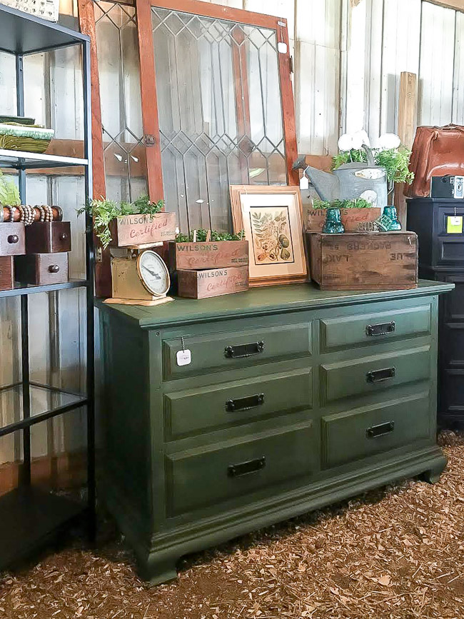 Chippy green painted dresser