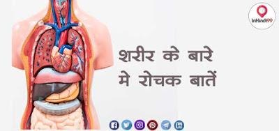 Interesting Facts About Body in Hindi (शरीर के बारे में रोचक तथ्य)