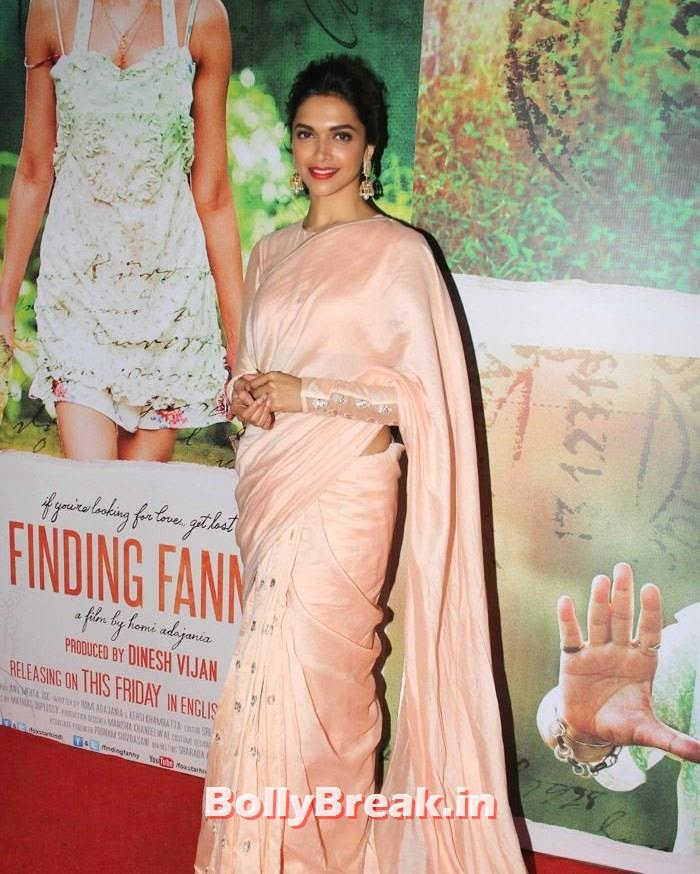 Deepika Padukone, Deepika Padukone in Beige Colur Saree for 'Finding Fanny' Screening