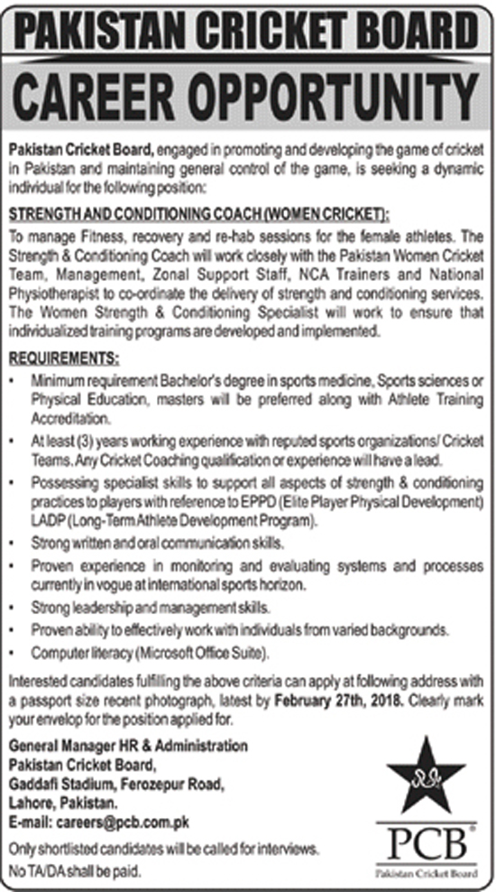 Jobs In Pakistan Cricket Board PCB 2018
