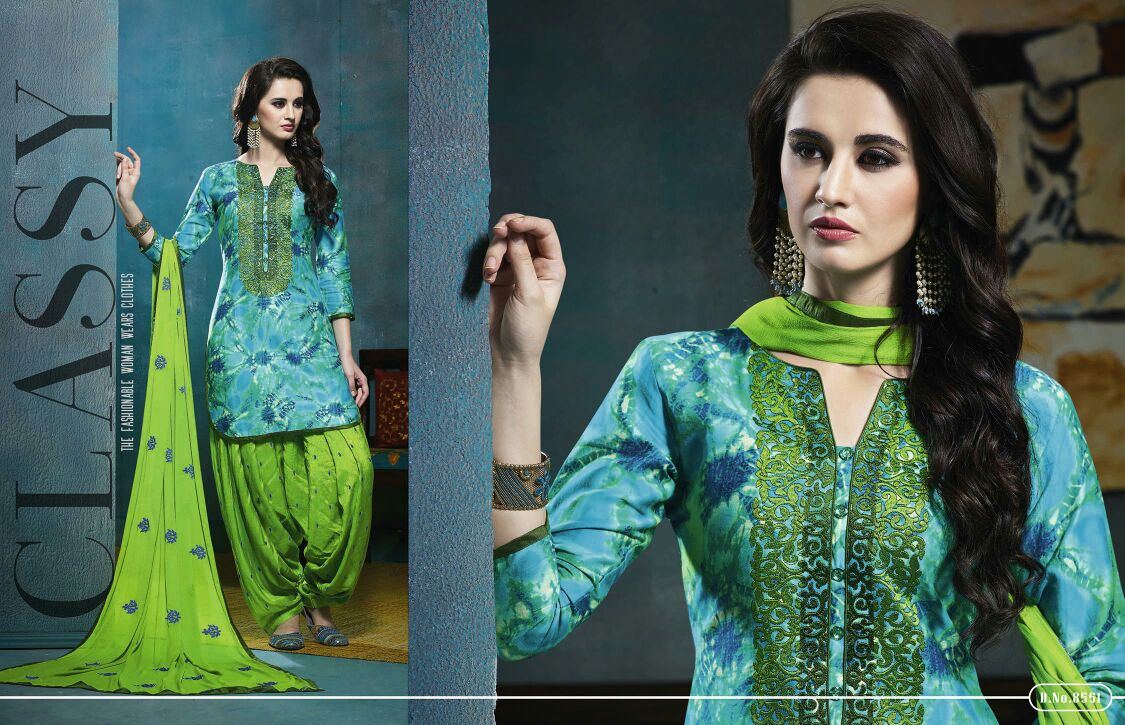 Colour's – Glace Cotton Embroidery Work Patiala Dress Material