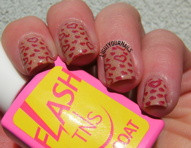 Neutral Valentine's stamping nail art