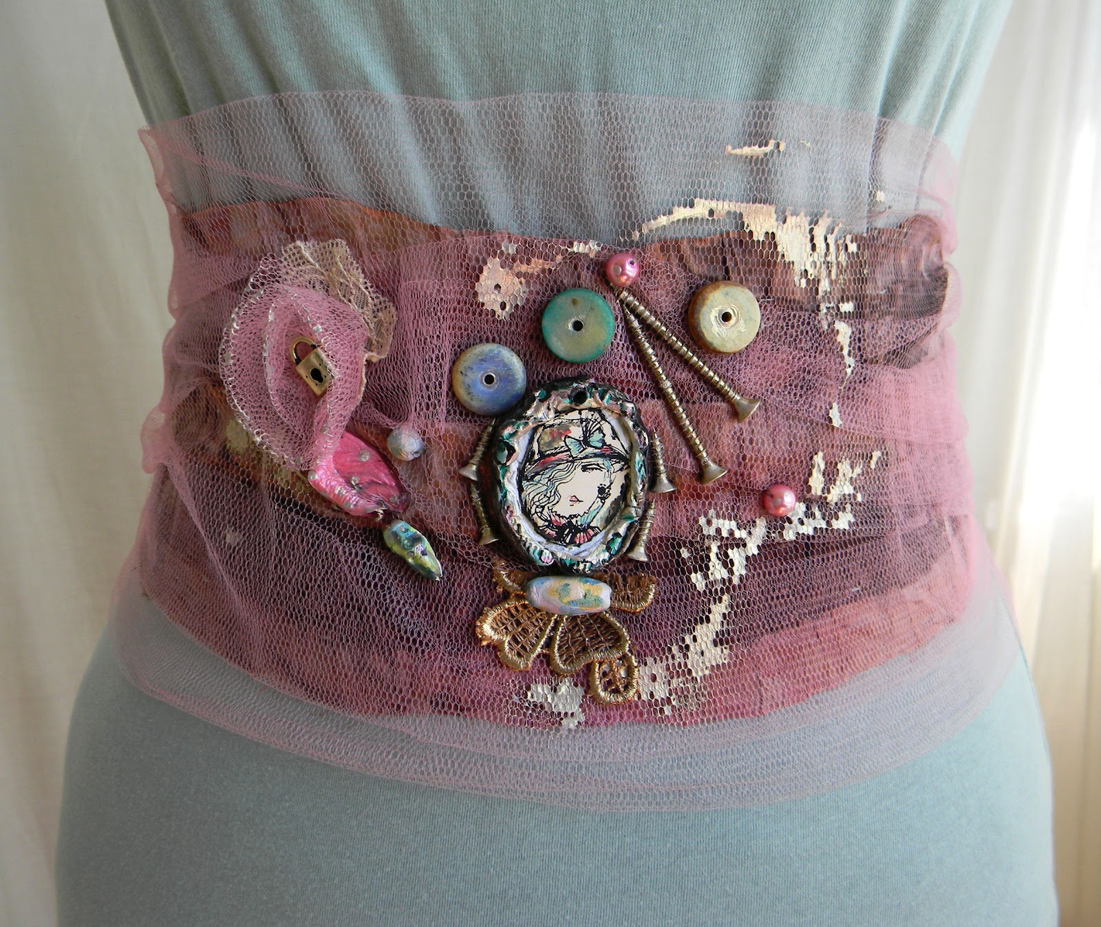 Romantic Steampunk Textile Waist Belt