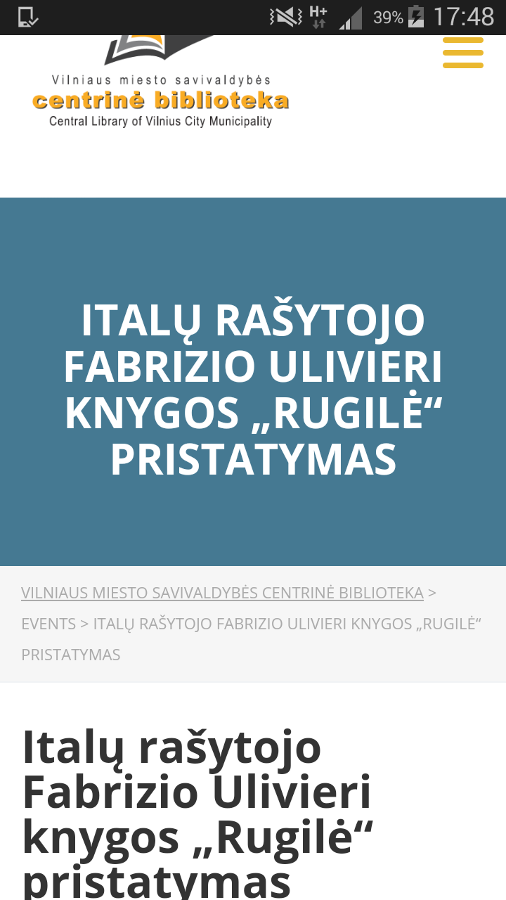 Italų Rasytojo Fabrizio Ulivieri Knygos Rugilė Pristatymas