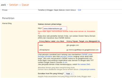 Kemudian masukkan nama domain kalian lalu save, nanti akan ada pesan error tapi jangan panik!