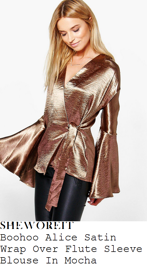 ferne-mccann-boohoo-alice-mocha-bronze-long-fluted-sleeve-wrap-front-tie-detail-textured-satin-blouse