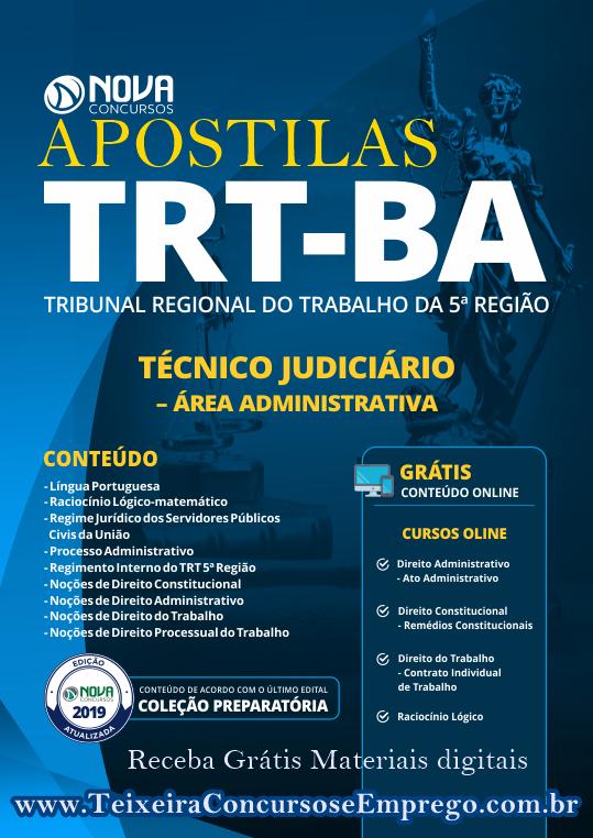 Apostilas do TRT-BA 2019, cargo Técnico Judiciário +curso online