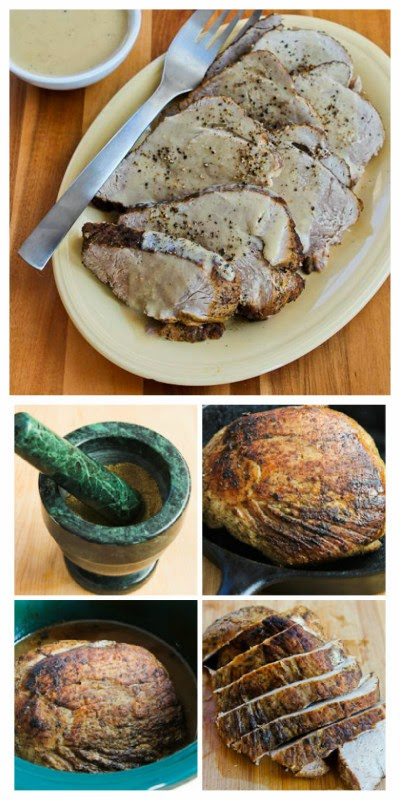 Slow Cooker Bavarian Pork Sirloin Tip Roast with Sour Cream Gravy from Kalyn's Kitchen found on SlowCookerFromScratch.com