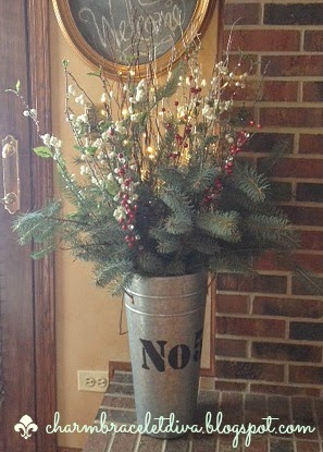 galvanized French flower bucket Christmas greens pre-lit faux branches