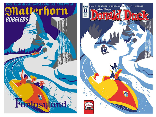 Matterhorn Bobsleds poster and Donald Duck cover