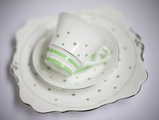 cream with green stars vintage cupand saucer and cake plate