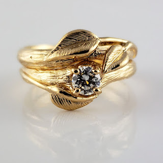 Round .25 Carat Natural Diamond Wedding Set, Twig texture with 3 hand sculpted leaves in 14k Yellow Gold.