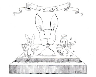 Whimsical Bunny Divisus Ink Drawing by Tawnya Boe
