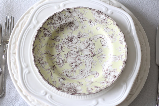 spring floral tablescape toile salad plate white dinner plate white charger