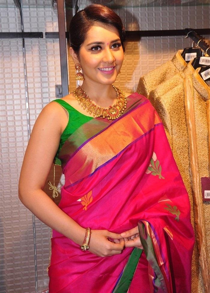 Rashi Khanna Photos In Red Designer Saree