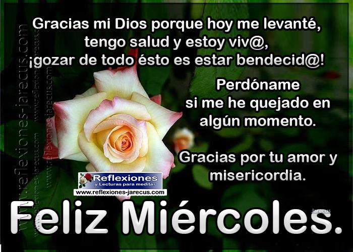Feliz miércoles, Gracias mi Dios porque hoy me levanté, tengo salud y estoy vivo; gozar de todo esto es estar bendecido. Perdóname si me he quejado en algún momento, gracias por tu amor y misericordia