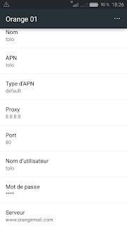 Paramètre d'un nouvel APN