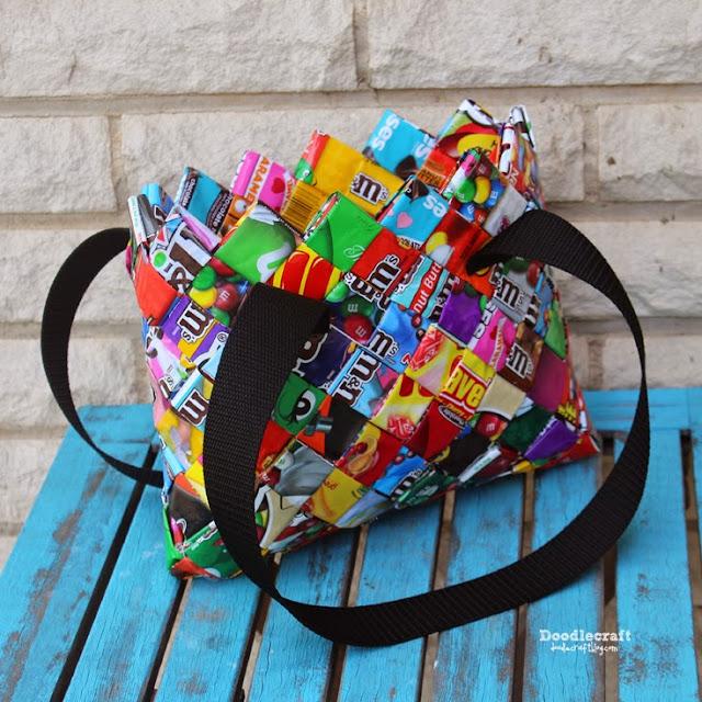 http://www.doodlecraftblog.com/2015/05/candy-wrapper-woven-pursebag.html