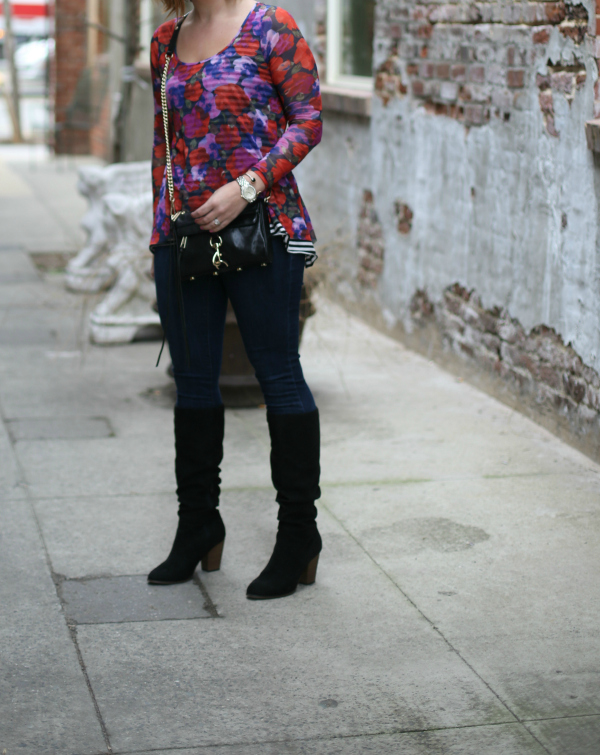 floral top, rebecca minkoff bag, black boots, style on a budget, mom style