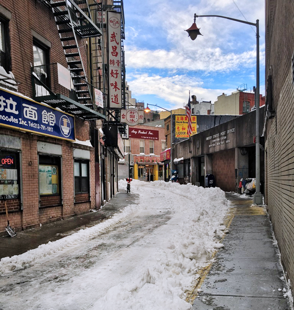 Winter NYC, Chinatown, Doyers Street