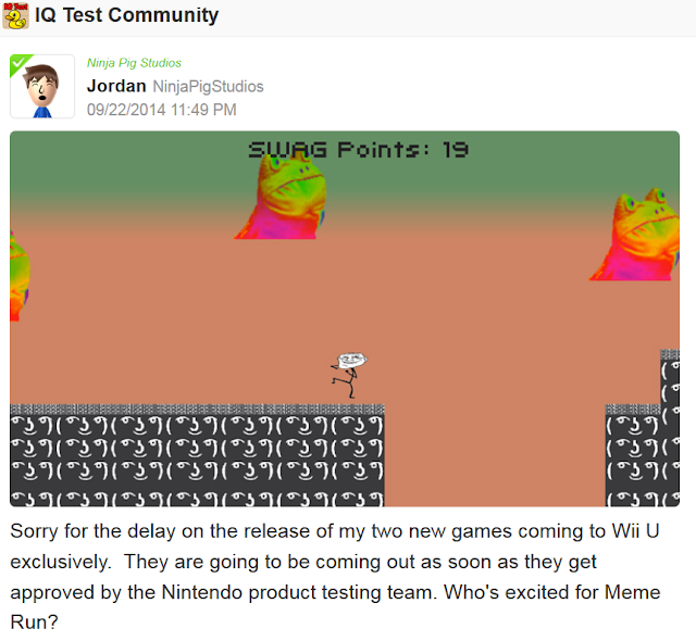 Jordan Ninja Pig Studios Miiverse Meme Run released soon
