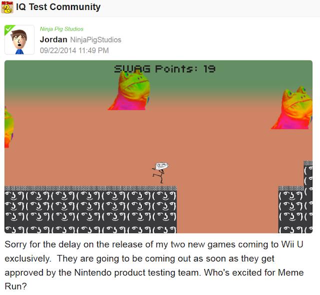 Jordan Ninja Pig Studios Miiverse Meme Run released soon