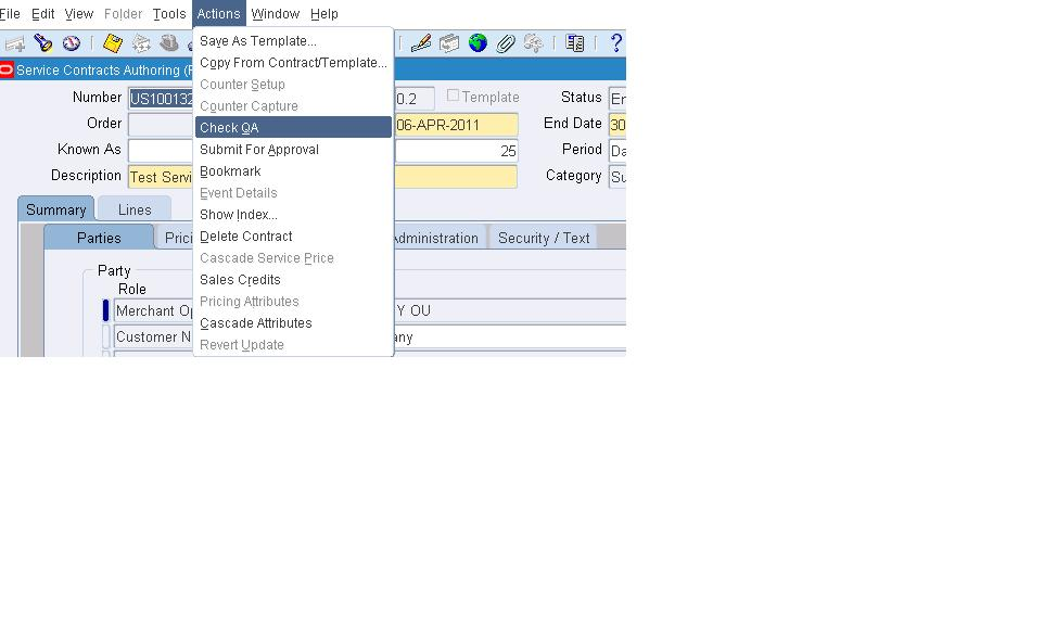 Oracle Applications Steps to create Invoice for a Service Contracts - creat an invoice
