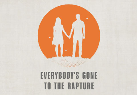 silhouetted in white against an orange circle, a young woman and man holding hands on the brow of a hill surrounded by butterflies. Text underneath reads, Everybody's Gone to the Rapture.