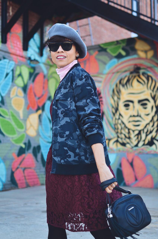 Camouflage jacket street style