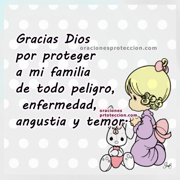 Oración corta de protección por mi familia, frases cristianas, imagen con oración para el día o la noche, gracias a Dios imágenes por Mery Bracho.