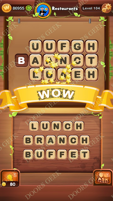 Word Bright Level 104 Answers, Cheats, Solutions, Walkthrough for android, iphone, ipad and ipod