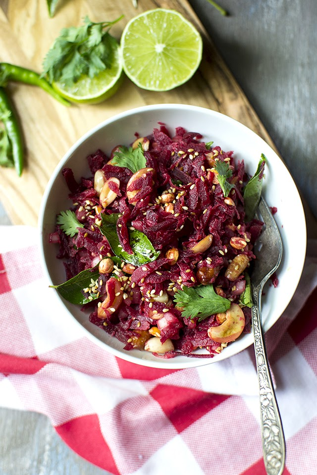 Beet Salad with Peanuts and Cashews