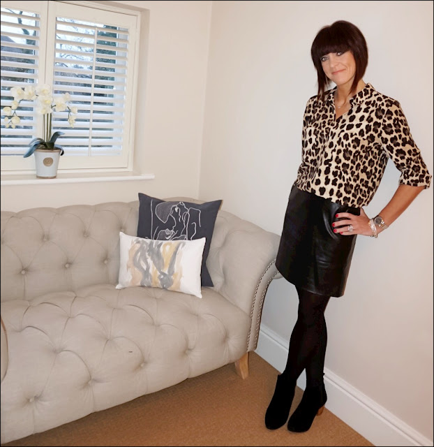 My Midlife Fashion, Olia Jewellery May Stars Bracelet, cartier love bangle, zara leopard print shirt, mango block heel ankle boots, marks and spencer faux leather a line skirt