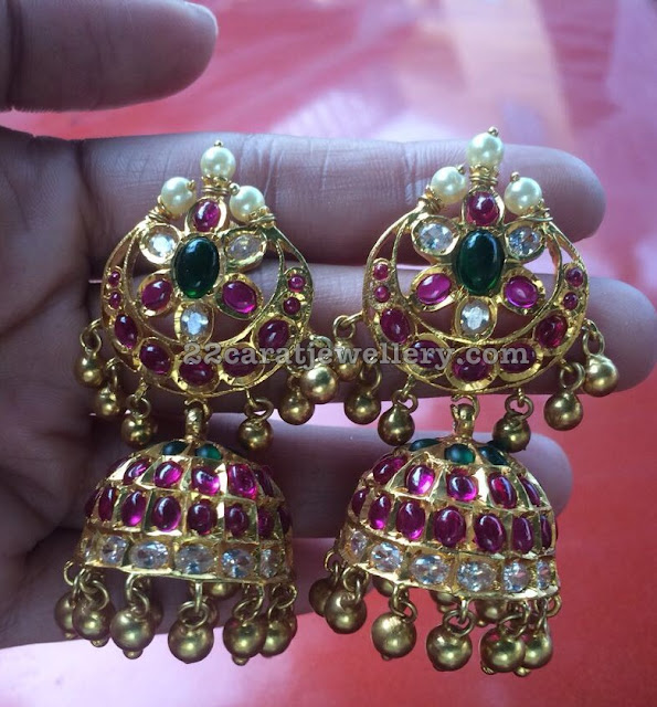 Silver Ruby Choker and Jhumkas