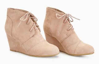 wet seal faux suede lace-up wedges