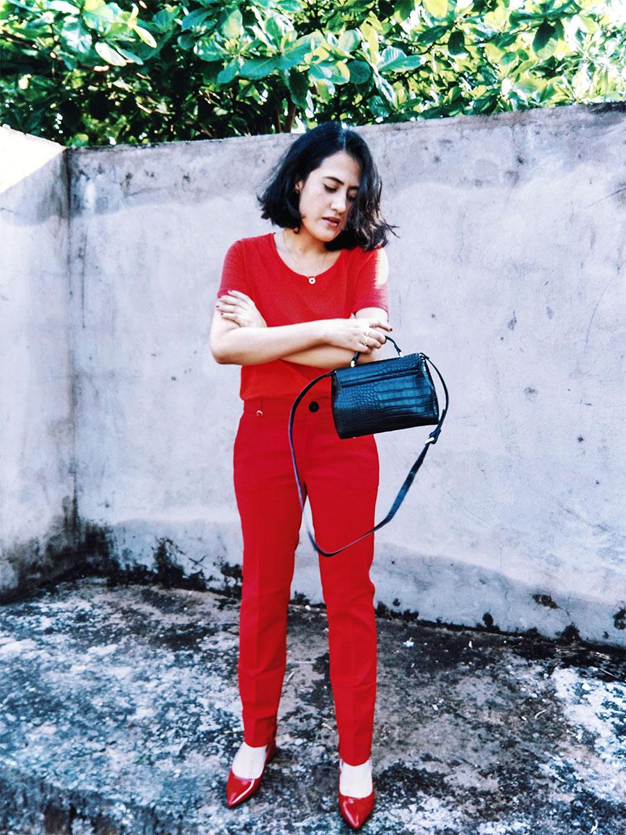 Next womens Red Top, mango red Highwaist trousers ,Zara Red Patent Block Heel,Zara Black Mini Bag  ,red monochrome outfit inspiration