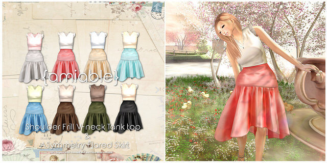 {amiable}Shoulder Frill V-neck & Asymmetry Skirt