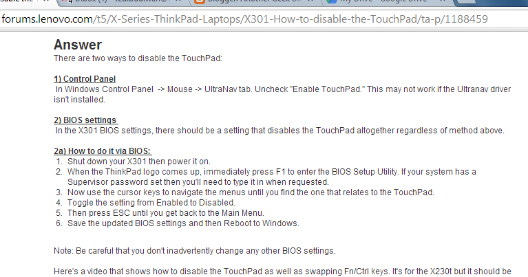 Another Geek Boy: Annoying touchpad in lenovo e440 and reversed ctrl