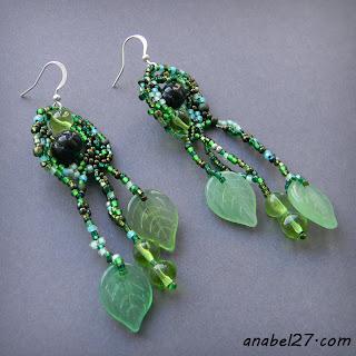 купить необычные украшения ручной работы зеленые серьги из бисера